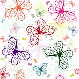Repeating white pattern with butterflies