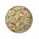 Sphere of American Banknotes against White