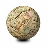 Sphere of American Banknotes on a White Surface