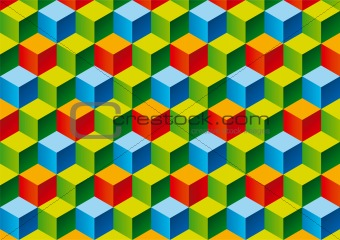 Three color child bricks 3D pattern. Vector Illustration.