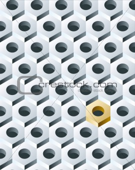 Group of Silver Bolts with Golden one. 3D pattern. Vector Illust
