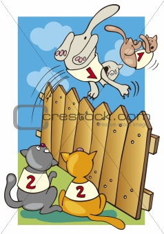 Cats jumping above the fence