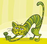 Green Cat stretching