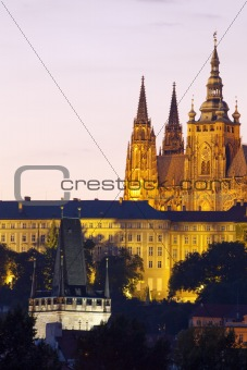 czech republic, prague - hradcany castle and charles bridge tower
