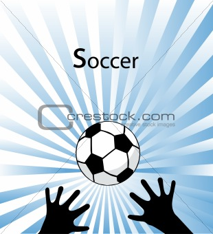 Football flying to hands to the goalkeeper. Vector