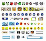 Icon and Button Set for Web. Vector