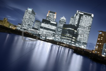 Canary Wharf at night, London
