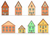 Set of houses. Vector art.