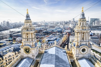 City of London and St. Paul`s Cathedral.