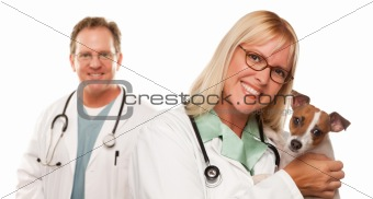 Attractive Female and Male Veterinarian Doctor with Small Puppy Isolated on a White Background.