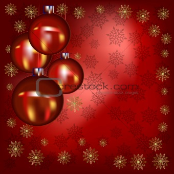 Christmas balls and gold snowflakes on a red