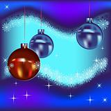 Christmas balls and stars on a blue background