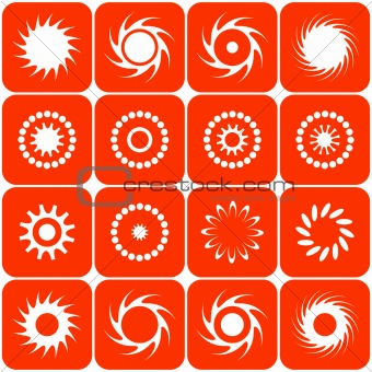 Abstract sun icons. Vector.