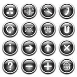 Black buttons with symbols.