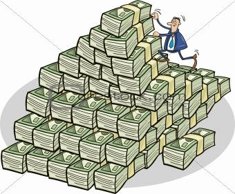Businessman climbing on money mountain