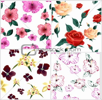 Four cute floral seamless pattern. Vector