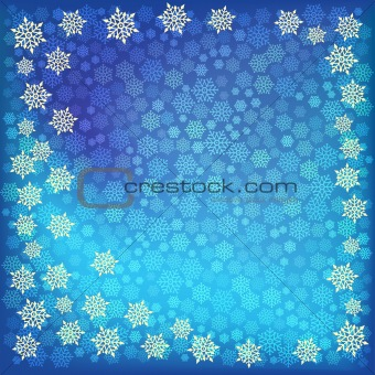 abstract christmas snowflake on a blue background