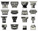 Set of art columns and architectural structures