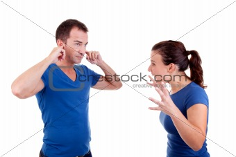woman screaming with a man, him with hands covering his ears , isolated on white, studio shot