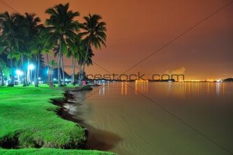 Beach scenery by night