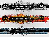 Grunge banners set for Halloween and plain