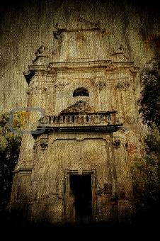 Church ruins on ancient grunge canvas