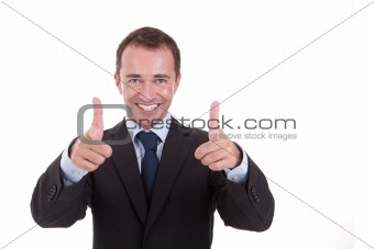 Young businessman with thumb raised as a sign of success, isolated on white background. studio shot