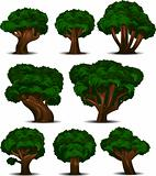 A collection of 8 different trees isolated on white. Separated into layers for easy editing!