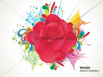 abstract colorful detailed rose with grunge