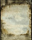 Grunge plaster wall with stained frame