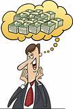 Businessman think about money