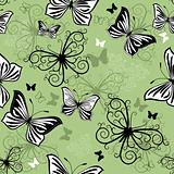 Seamless green-black-white pattern