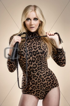 blonde with whip