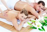 Caucasian young couple enjoying a back massage