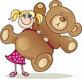 Girl with big teddy bear