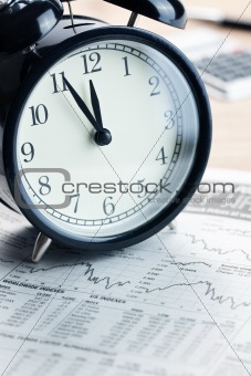alarm clock on financial graph.last moment