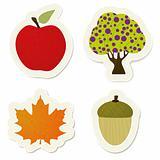 Autumn vector stickers set