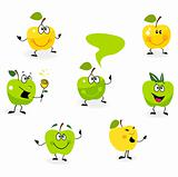 Funny green Apple fruit characters isolated on white background
