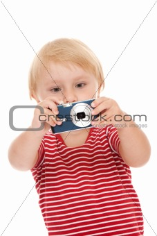 young child with camera
