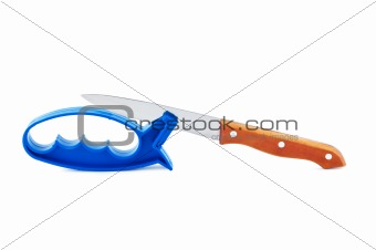 Knife and sharpener isolated on white.