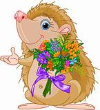 Cute little Hedgehog  giving a bouquet