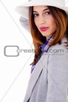Smiling brunette model side pose