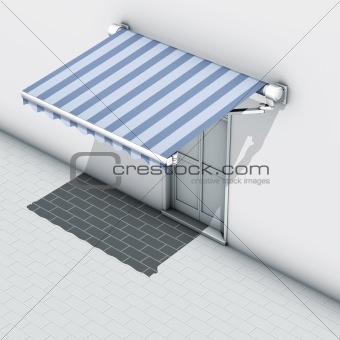 Awnings blue stripe