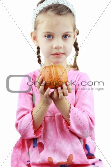 Child Holding Pumpkin