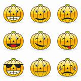 illustration of pumpkin emoticons