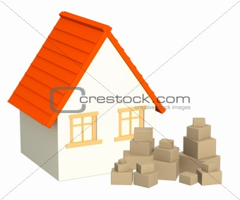 House and boxes
