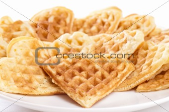 Stack of waffles in shape of heart