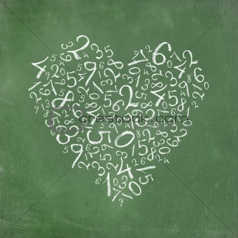 Love of mathematics: heart shaped simple numbers on school-board texture.