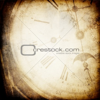 Antique pocket clock face background.