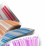 multicolored barcodes sticker label over white background